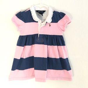 RALPH LAUREN BABY PINK NAVY BLUE STRIPE DRESS 24M